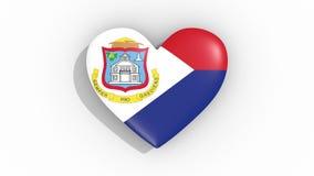 Corazón en la bandera de los pulsos de Sint Maarten, lazo de los colores ilustración del vector