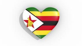 Corazón en la bandera de los pulsos de Zimbabwe, lazo de los colores libre illustration
