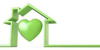 Corazón en la casa hecha de la Línea Verde 3D ilustración del vector