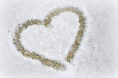 Corazón en la nieve Imagen de archivo