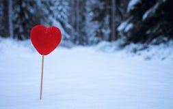 Corazón en la nieve Foto de archivo libre de regalías