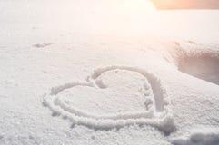Corazón en la nieve Imagenes de archivo
