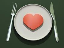 Corazón en la placa Ilustración del Vector