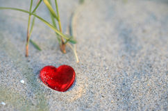 Corazón en la playa Fotografía de archivo