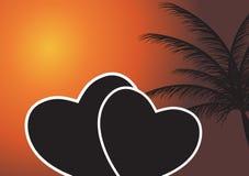 Corazón en la puesta del sol. Ilustración del vector. EPS 10. ilustración del vector