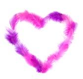 Corazón en las plumas rosadas aisladas en blanco Fotos de archivo