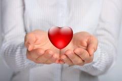 Corazón en manos. Imagen de archivo libre de regalías