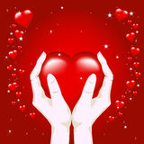 Corazón en manos ilustración del vector