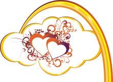 Corazón en nubes ilustración del vector