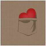 Corazón en su camisa de tela escocesa del bolsillo Foto de archivo