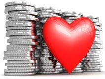 Corazón en su tesoro del dinero Foto de archivo