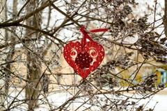 Corazón en técnicas quilling - símbolo del día de tarjetas del día de San Valentín Imagen de archivo libre de regalías