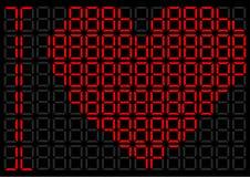 Corazón en un indicador digital Foto de archivo libre de regalías