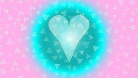 Corazón en una burbuja, círculo, corazón único preferido festivo de C de la bola de neón que brilla intensamente Ejemplo trasero  ilustración del vector