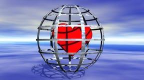 Corazón en una cárcel stock de ilustración