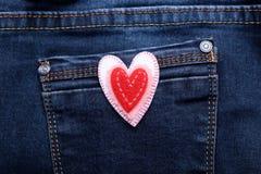 Corazón en vaqueros Fotografía de archivo libre de regalías