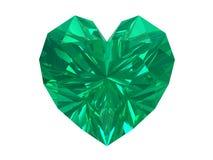 Corazón esmeralda aislado en el fondo blanco. Imagen de archivo libre de regalías