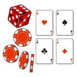 Corazón, espada, clubs, tarjetas del as del diamante, dados y microprocesadores de juego Fotografía de archivo libre de regalías