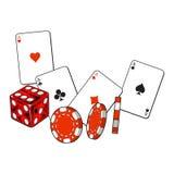 Corazón, espada, clubs, tarjetas del as del diamante, dados y microprocesadores de juego Imágenes de archivo libres de regalías