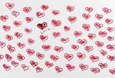 Corazón exhausto del rojo de los lápices Foto de archivo
