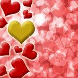 Corazón feliz de las tarjetas del día de San Valentín del fondo del oro Foto de archivo libre de regalías