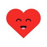Corazón feliz del emoticon lindo de la historieta en estilo plano moderno Ilustración del vector libre illustration