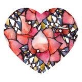 Corazón floral stock de ilustración