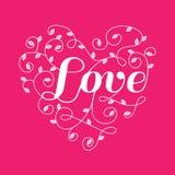 Corazón floral con palabra del amor Imagen de archivo libre de regalías