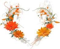 Corazón floral de Grunge. Foto de archivo