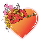 Corazón floral de la tarjeta del día de San Valentín stock de ilustración