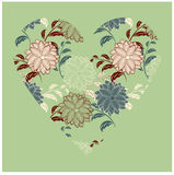 corazón floral de la vendimia Foto de archivo