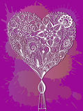 Corazón floral del garabato Foto de archivo