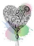 Corazón floral del garabato Imagen de archivo libre de regalías