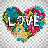 Corazón floral del garabato en fondo transparente stock de ilustración