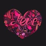Corazón floral Flor creativa dibujada mano Fondo del saludo el día del ` s de la tarjeta del día de San Valentín Banquete del amo Imagenes de archivo