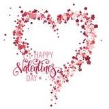Corazón floral hermoso con las letras Tarjeta de la tarjeta del día de San Valentín Fotos de archivo