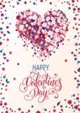 Corazón floral hermoso con las letras Tarjeta de la tarjeta del día de San Valentín Foto de archivo