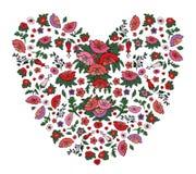 Corazón floral hermoso hecho de amapolas rojas y rosadas y de tulipanes aislados en blanco libre illustration