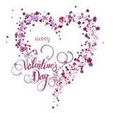 Corazón floral hermoso Tarjeta de la tarjeta del día de San Valentín stock de ilustración