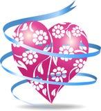 Corazón floral rosado Fotos de archivo libres de regalías