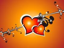 Corazón fresco de la tarjeta del día de San Valentín floral Foto de archivo