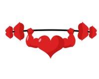 Corazón fuerte amor potente Beso del barbell del deporte Labios pesados Fotos de archivo libres de regalías