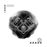 Corazón geométrico de la impresión del inconformista Línea futurista Foto de archivo libre de regalías