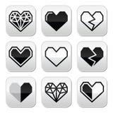Corazón geométrico para los botones cuadrados grises del día de tarjeta del día de San Valentín Foto de archivo libre de regalías