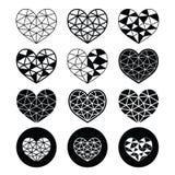 Corazón geométrico para los iconos del día de tarjeta del día de San Valentín - ame, concepto de la relación Imágenes de archivo libres de regalías