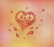 Corazón, gráfico de lápiz fotos de archivo
