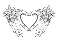 Corazón gráfico del mehndi ilustración del vector