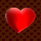 Corazón grande con el fondo del chocolate Imagen de archivo