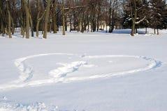 Corazón grande en un parque del invierno Fotografía de archivo