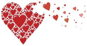 Corazón grande hecho de pequeños corazones Foto de archivo